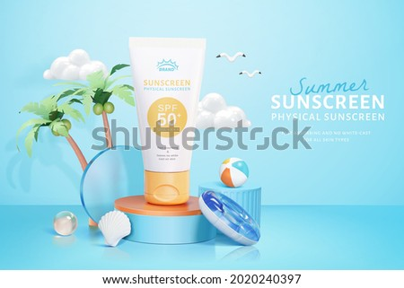 3d cosmetic ad template in island vacation theme. Tube mock up on round podium with beach swim objects.