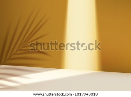 3d cosmetic pedestal scene with leaf spotlight platform. yellow background vector 3d rendering with scene. stand for cosmetic product. Stage showcase on pedestal illuminating 3d studio yellow scene