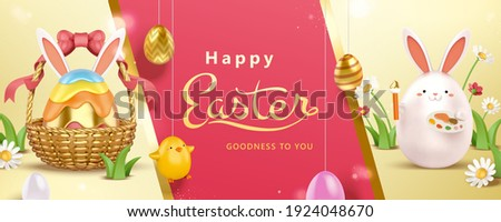 3d creative Easter egg decorating banner with Easter egg basket and cute rabbit toy. Concept of holiday activity for kids.