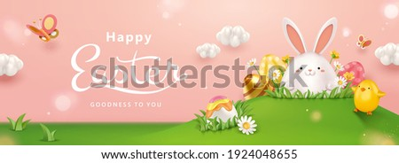 3d creative Easter egg hunt banner. Cute Easter eggs hidden in the grass. Concept of holiday activity for kids.