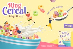 3d crispy and tasty ring cereal ad banner. Kids playing in a bowl full of ring cereals and splash of milk. Suitable for healthy breakfast.