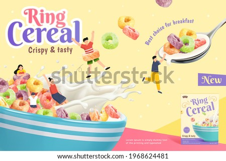 3d crispy and tasty ring cereal ad banner. Kids playing in a bowl full of ring cereals and splash of milk. Suitable for healthy breakfast. Сток-фото ©