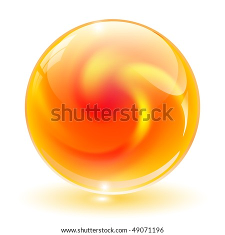 3D crystal, glass sphere vector illustration.