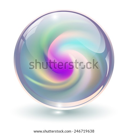 3d crystal  glass sphere with
