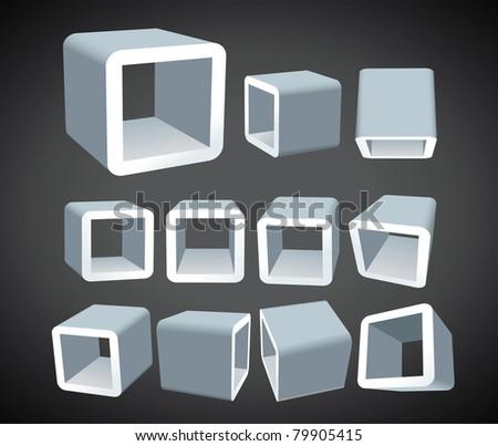 3D cube box isolated