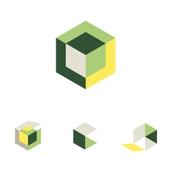 3d cube icons for logo or symbol. Gradient boxes or hexagons shaded with colors to make graphic dimensional squares. Green yellow and gray shades.