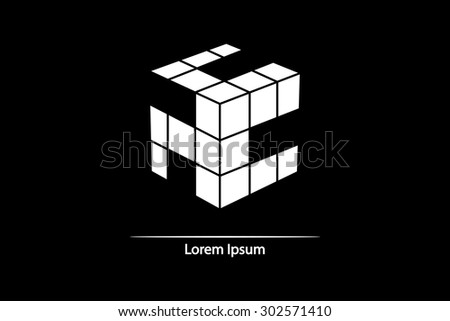 3d cube isolated on a black