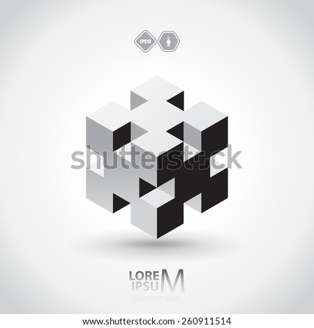 3d cube logo design science