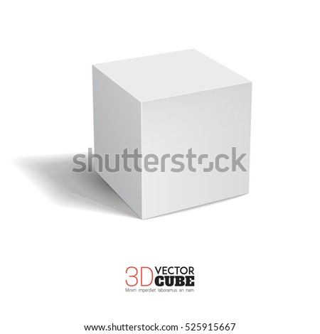3d cube on a white background.  White box. Vector for your graphic design.