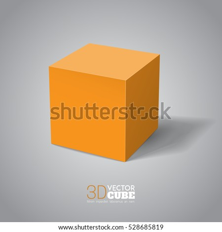 3d cube  orange box vector
