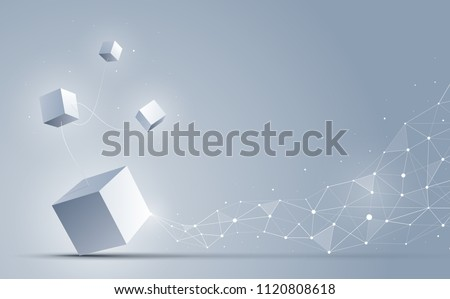 3d cubes connecting to abstract