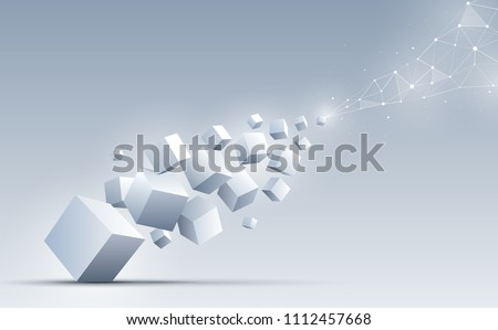 3d cubes floating to connect with an abstract geometric polygonal. Science and technology background. Big data and Internet connection. Abstract background. Vector illustration.