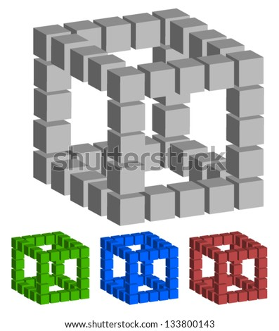 3d Cubes from 3d Cubes - Spatial Geometry, Building - Industrial (industry) concepts - 4 color variation