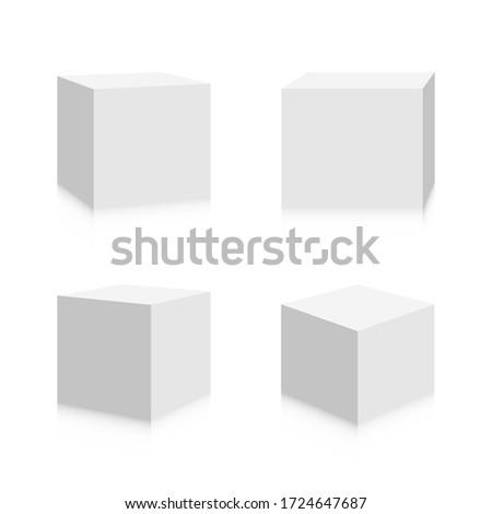3d Cubes Image Design. Realistic Square Boxes Icon Vector Foto stock ©