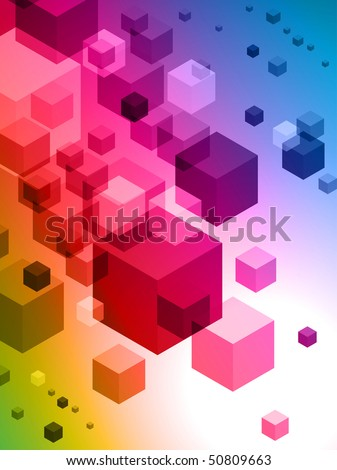 3D Cubes on Colorful Abstract Background Original Illustration - stock vector