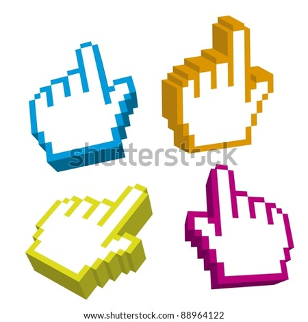 3d cursor hand isolated over white background. vector