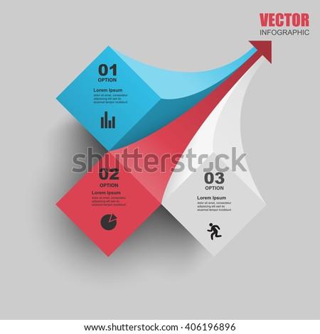 3d curved arrow, informational brochure cover design