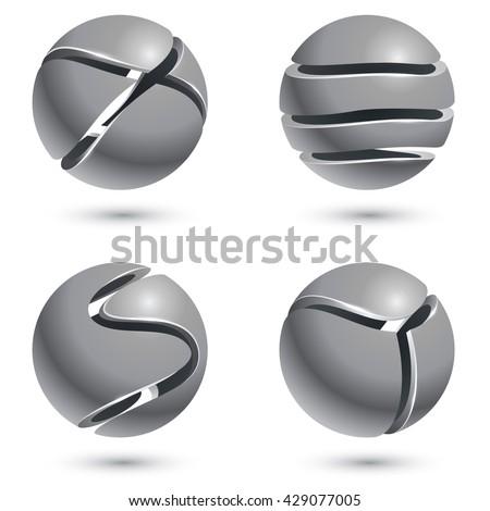 3d cut metal sphere signs...