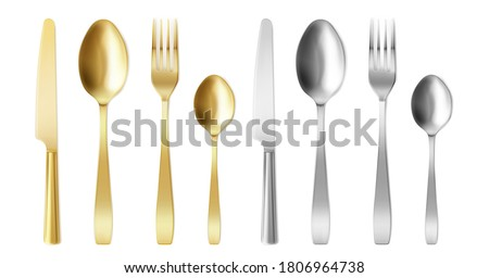 3d cutlery of golden and silver color fork, knife and spoon set. Silverware and gold utensil, catering luxury metal tableware top view. isolated on white background, Realistic vector illustration,