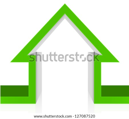 3D Cutout green house - green home icon ecology concept