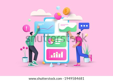 3D Data Analysis, business, finance and mobile web design concept, user interface optimization. 3D vector illustration