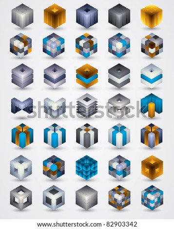 3D design elements. Collection of dimensional cubic symbols for your design projects. Shadows are transparent, ready to put over any background.