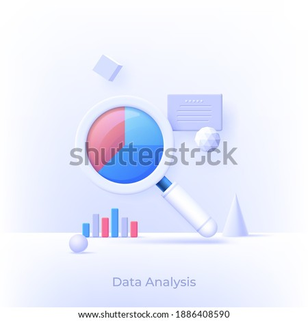 3D design of data analysis magnifier with pie chart. Premium quality outline symbol. Modern style logo vector illustration concept.