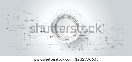3d design paper with line circle with circuit board. Illustration Abstract modern futuristic, engineering, science, technology background. Hi tech digital connection, communication,Modern technology