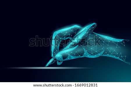 3D digital signature writing concept. Businessman whine a sign on tablet touch screen terminal. Digital pen online internet data security drawing device vector illustration