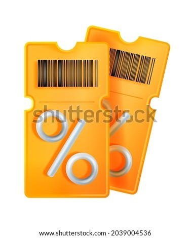 3D discount coupon illustration, vector voucher gift, bar code, yellow lucky ticket, percent sign. Sale bonus points illustration isolated on white, benefit special offer, pass badge. Discount coupon