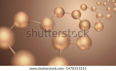 3d DNA molecule vector design. Science abstract background with molecular structure. Atoms model illustration, scientific banner for medicine, biology, chemistry or physics template