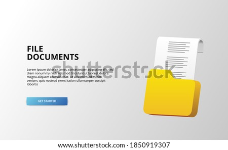 3d document folder paper files technology archive object with 3d stunning icon