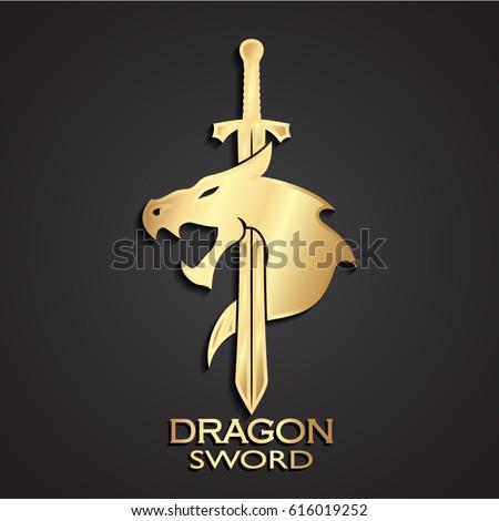 3d dragon head with sword