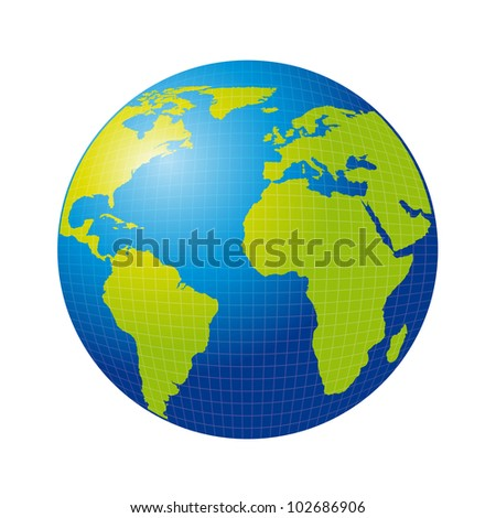 3d earth isolated over white background. vector illustration