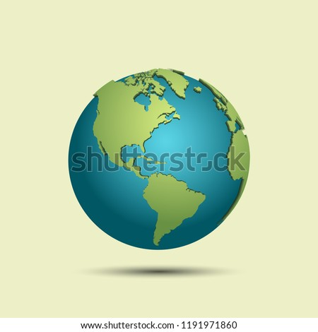 3d earth map with shadow on light background.