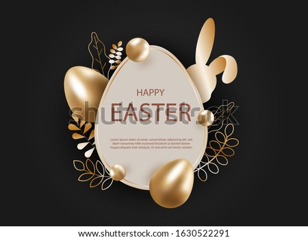 3d easter background. 3d realistic goldr eggs, bunny. Christ is risen. Vector holiday illustration of gold easter eggs for easter. Christian symbols of religion. Happy Easter, bunny, background. Copy