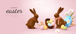 3d Easter banner with chocolate rabbits and beautiful painted eggs. Concept of Easter egg hunt or egg decorating art.