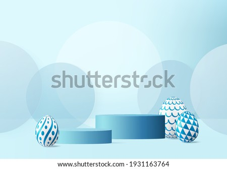 3d Easter eggs podium with render vector blue scene background. podium easter day with geometry platform for product display. stand to show cosmetic products. Stage podium easter on pedestal display