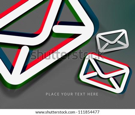 3d effect e-mail icon, vector design.