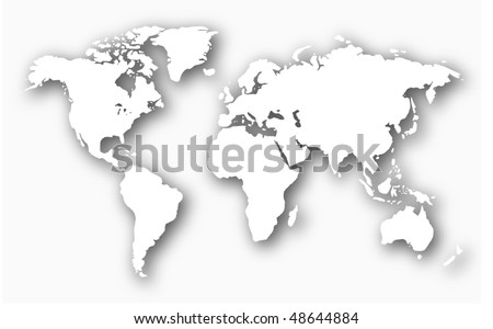 3d embossed white world map