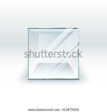 3d empty election glass box for