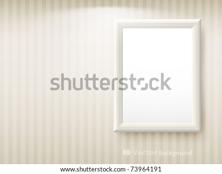 3d empty frame on the wall. Vintage background - stock vector