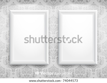3d empty frames on the wall. Vintage background