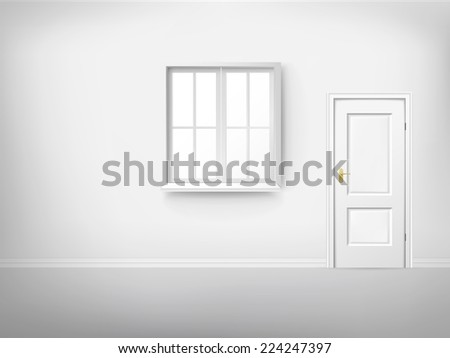 3d empty room with window and