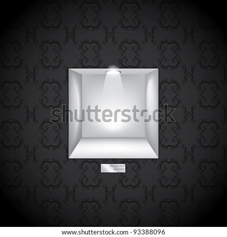 3d Empty shelf for exhibit in the wall. Vector illustration