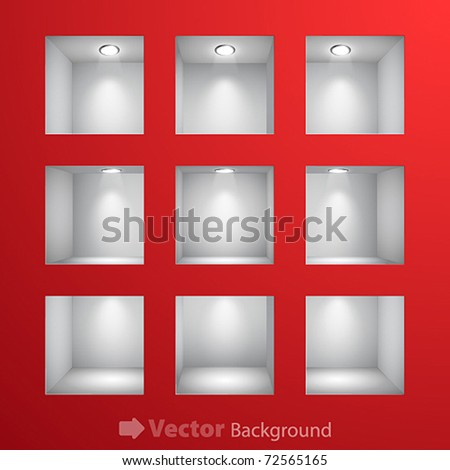 3d Empty shelves for exhibit in the wall. Vector illustration.