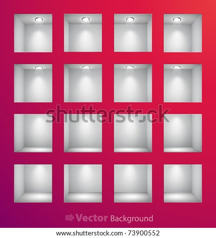 3d Empty shelves for exhibit in the wall. Vector illustration. - stock vector