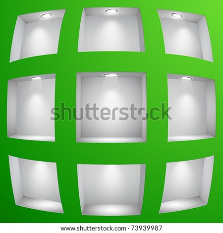 3d Empty shelves for exhibit in the wall with fish eye effect. Vector illustration.