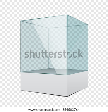 3d empty transparent glass showcase with podium on simple background
