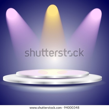 3d Empty white podium with color light,vector  illustration